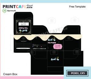 แบบเทมเพลตกล่องฟรี กล่องครีม PC001-C5